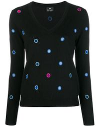 PS by Paul Smith - Embroidered Spot V-neck Sweater - Lyst