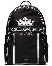 Dolce & Gabbana - Black And White Crown Logo Print Backpack - Lyst