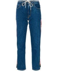 Aries - Logo Strip Cropped Jeans - Lyst