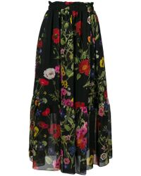 Blugirl Blumarine - Poppy Print Midi Skirt - Lyst