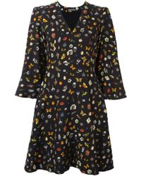 Alexander McQueen - Obsession-print Cape-sleeved Crepe Dress - Lyst