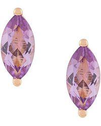 Delfina Delettrez - 18kt Champagne Gold Dots Solitaire Amethyst Stud Earrings - Lyst