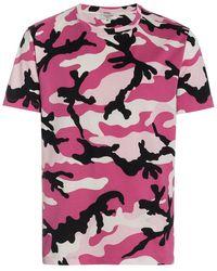 Valentino - Camouflage Print Cotton Short Sleeve T Shirt - Lyst