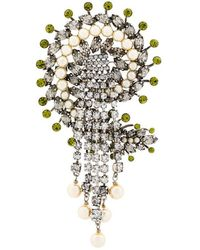 Etro - Pearl And Crystal Brooch - Lyst