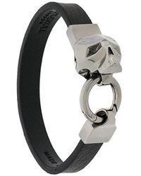 Northskull - Hexagus Skull Leather Bracelet Gunmetal - Lyst