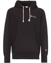 Champion - Black Reverse Weave Logo Embroidered Cotton Hoodie - Lyst