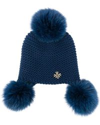Mr & Mrs Italy - Fur Pompoms Knitted Beanie - Lyst