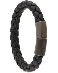 Prada - Leather Braided Bracelet - Lyst