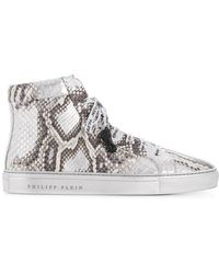 5c50cc5a0f3 Gucci Online Exclusive Leather And Python High-top Sneaker in White ...