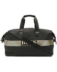 BOSS - 'pixel Holdall' | Logo-print Nylon Travel Bag - Lyst