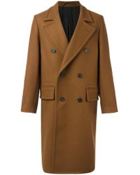AMI - Double Breasted Long Coat - Lyst