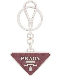 Prada - Triangular Logo Keyring - Lyst