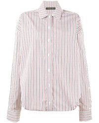 Y. Project - Striped Double Collar Oversized Shirt - Lyst