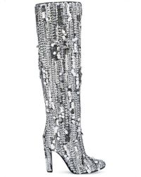 Alberta Ferretti - Sequins Knee-high Boots - Lyst