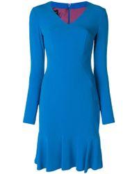 Talbot Runhof - Fitted V-neck Dress - Lyst