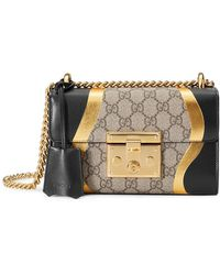 Gucci - Padlock Gg Supreme And Leather Shoulder Bag - Lyst