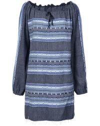 lemlem - Striped Drawstring Neck Dress - Lyst