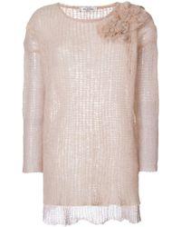 Valentino - Floral Appliqué Knit Jumper - Lyst