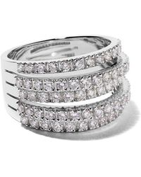De Beers - 18kt White Gold Five Line Diamond Ring - Lyst