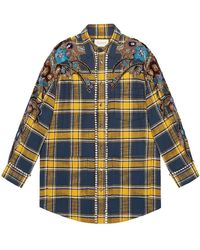 Gucci - Embroidered Plaid Oversize Shirt - Lyst