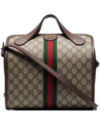 08666fb4ba9d Gucci - Beige And Brown Supreme Ophidia Mini Duffle Bag Tote - Lyst