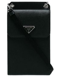 Prada - Small Detachable Strap Leather Pouch - Lyst