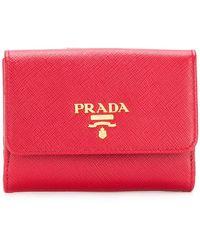 Prada - Logo Plaque Flap Wallet - Lyst
