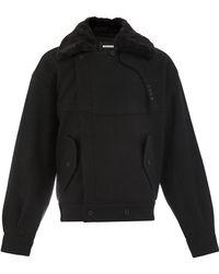 Moohong - Faux Fur Collar Jacket - Lyst