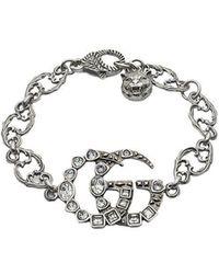 Gucci - Kristallen Armband Met Dubbele G - Lyst