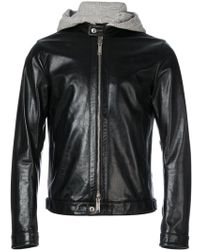 DSquared² - Hoodie Insert Leather Jacket - Lyst
