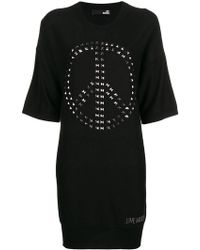 Love Moschino - Knitted Embellished Jumper Dress - Lyst