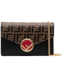 Fendi - Black, Brown And Red Ff Logo Leather Wallet On A Chain Bag - Lyst