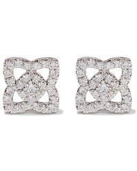 De Beers - 18kt White Gold Enchanted Lotus Diamond Small Stud Earrings - Lyst