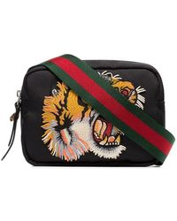 Gucci - Black Tiger Embroidered Cross-body Bag - Lyst