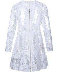 Moncler - Clear Pu Floral Lace Coat - Lyst