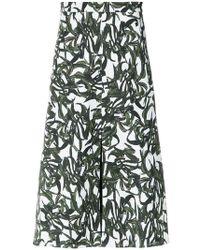 Andrea Marques - Foliage Print Midi Skirt - Lyst