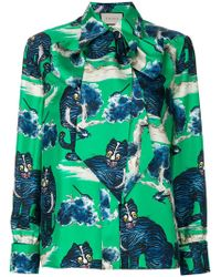 Gucci - Angry Cat Print Blouse - Lyst