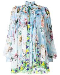 Dolce & Gabbana - Cupid Print Chiffon Blouse - Lyst