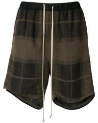 Rick Owens - Drawstring Checked Shorts - Lyst