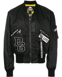 Dolce & Gabbana - Letterman Rib Trim Bomber Jacket - Lyst
