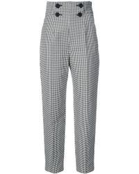 Sara Battaglia - High Waisted Checkered Trousers - Lyst