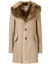 701a8479622d Marc Jacobs - Single Breasted Leather Trim Coat With Fur Collar - Lyst