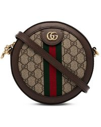 7ab4d383f00 Gucci - Taupe Ophidia GG Circle Camera Bag - Lyst