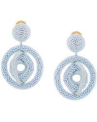 Oscar de la Renta - Triple Hoop Beaded Earrings - Lyst