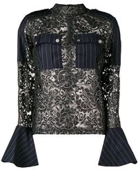 Each x Other - Hybrid Lace & Pinstripe Military Blouse - Lyst