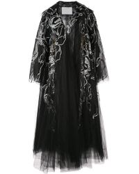 Oscar de la Renta - Flared Embroidered Coat - Lyst
