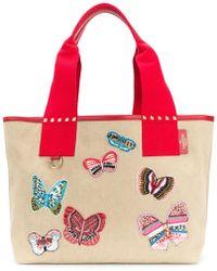 Valentino - Garavani Rockstud Butterfly Embroidered Tote - Lyst