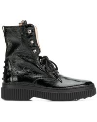 Tod's - Studded Military Boots - Lyst