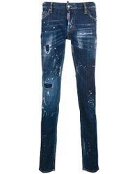 DSquared² - Distressed Splatter-print Jeans - Lyst