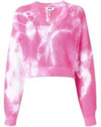 b4875fb0d8 MSGM - Cropped V-neck Sweatshirt - Lyst